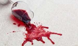Red wine carpet stain